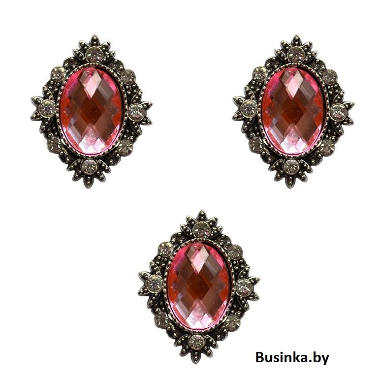 Серединки ювелирные со стразами 25*32 мм, розовый (1 шт)