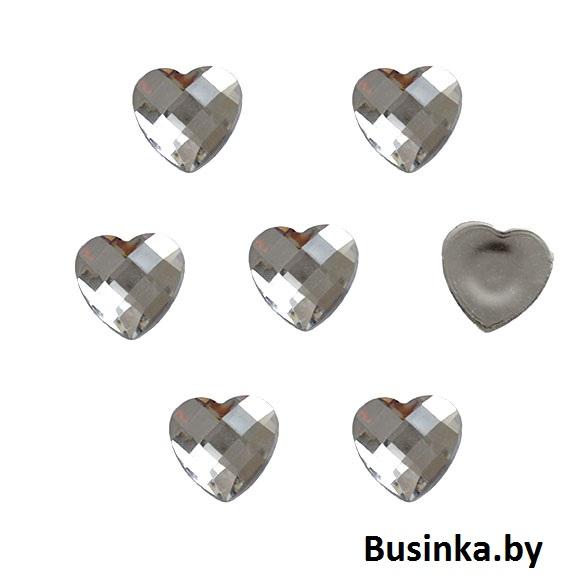 Стразы гранёные «Сердце» 20 мм, серебро (1 шт)