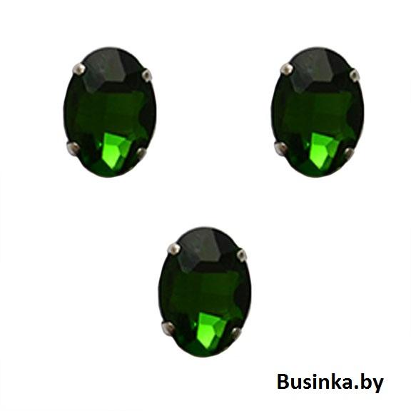 Стразы пришивные «Овал» 18 мм, зелёный (1 шт)