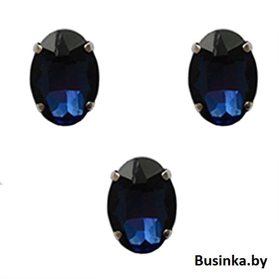 Стразы пришивные «Овал» 18 мм, тёмно-синий (1 шт)