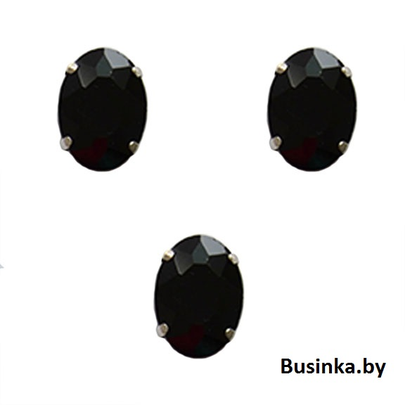 Стразы пришивные «Овал» 18 мм, чёрный (1 шт)