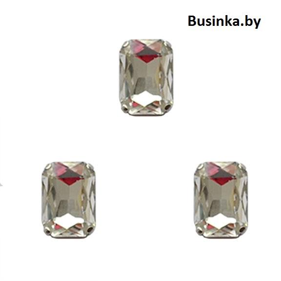 Стразы пришивные «Прямоугольник» 18 мм, серебро (1 шт)