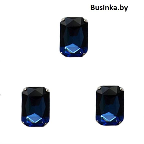 Стразы пришивные «Прямоугольник» 18 мм, тёмно-синий(1 шт)