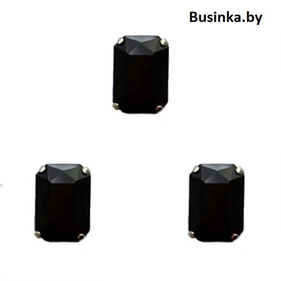 Стразы пришивные «Прямоугольник» 18 мм, чёрный (1 шт)