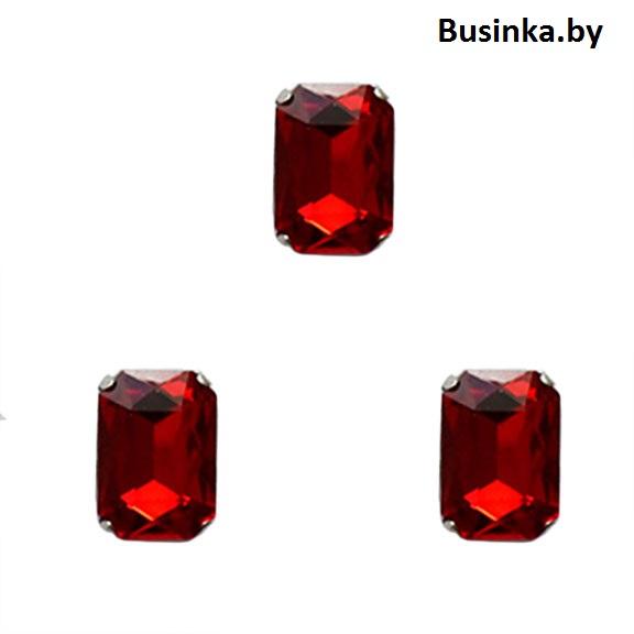 Стразы пришивные «Прямоугольник» 18 мм, красный (1 шт)
