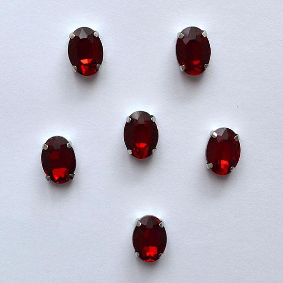 Стразы пришивные «Овал» 14мм, тёмно-красный (1 шт)