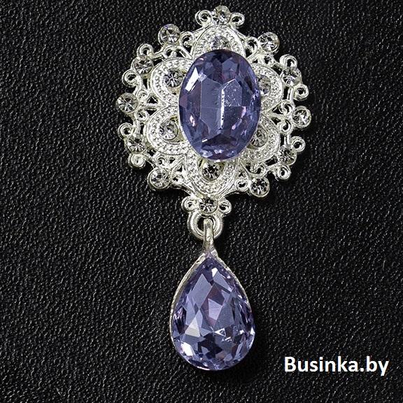 Серединки ювелирные с подвеской 25*45 мм, серебро/фиолетовый (1 шт)