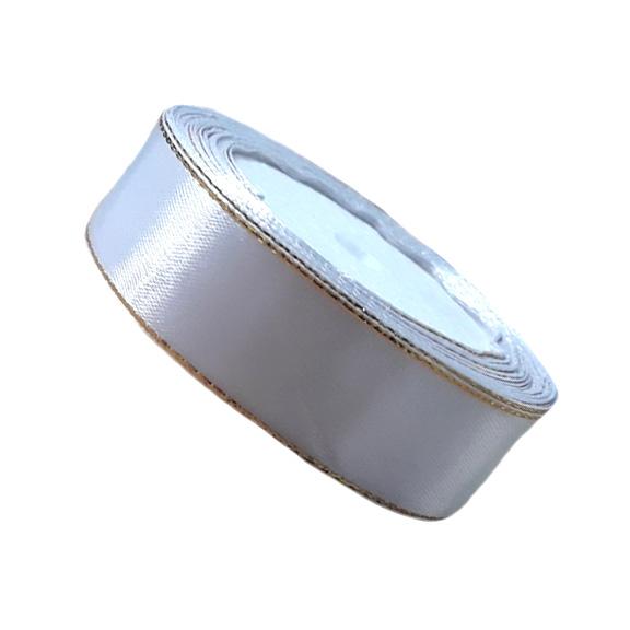 Атласная лента 2,5 см белый с золотым люрексом (бабина)