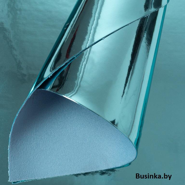 Кожзам «Зеркальный» 22*30 см, голубой (1 шт)