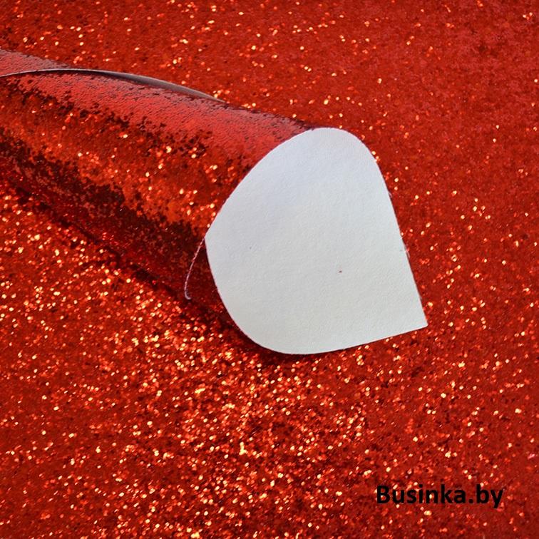 Кожзам с крупными блёстками 20*30 см, красный (1 шт)