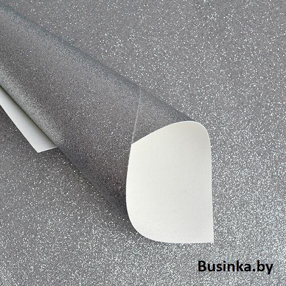 Кожзам с глиттером 20*30 см, серебро (1 шт)