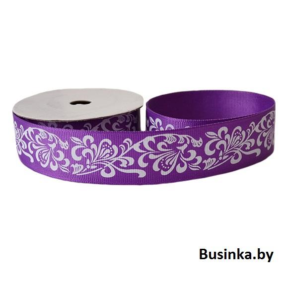Репсовая лента «Узоры» 2,5 см (1м), фиолетовый