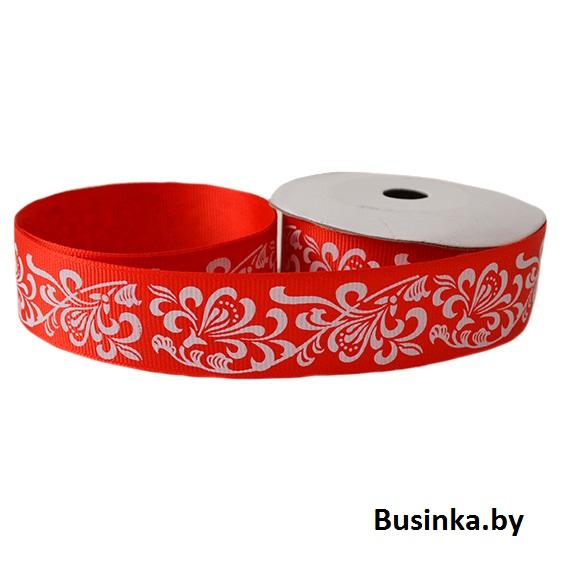 Репсовая лента «Узоры» 2,5 см (1м), красный