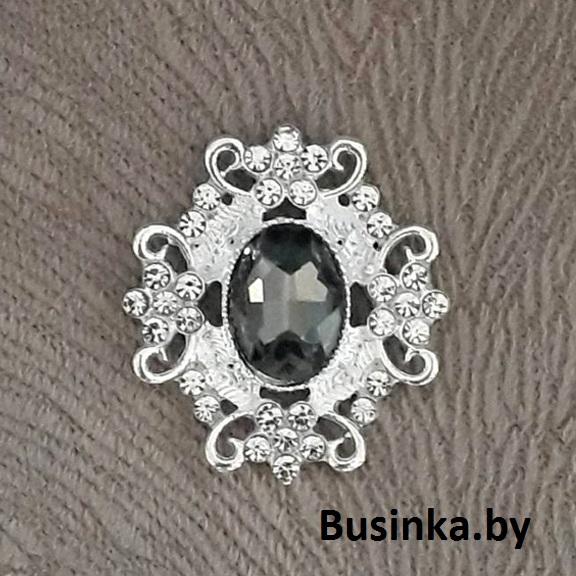 Серединки ювелирные 30*33 мм, серебро/графитовый (1 шт)