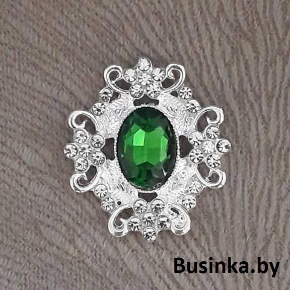 Серединки ювелирные 30*33 мм, серебро/зелёный (1 шт)
