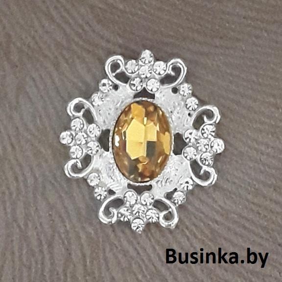 Серединки ювелирные 30*33 мм, серебро/золото (1 шт)