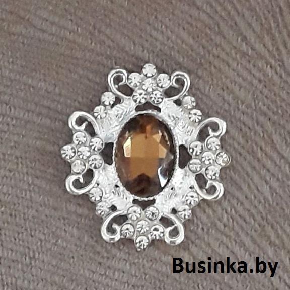 Серединки ювелирные 30*33 мм, серебро/коричневый (1 шт)