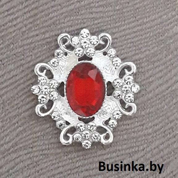 Серединки ювелирные 30*33 мм, серебро/красный (1 шт)