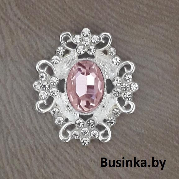 Серединки ювелирные  30*33 мм, серебро/розовый (1 шт)
