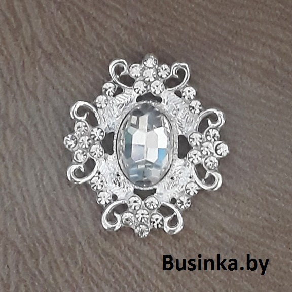 Серединки ювелирные 30*33 мм, серебро/серебро (1 шт)