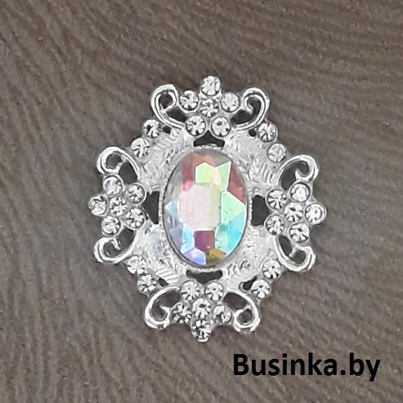 Серединки ювелирные 30*33 мм, серебро/серебро радужное (1 шт)