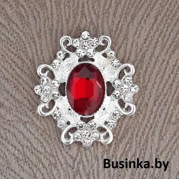 Серединки ювелирные 30*33 мм, серебро/тёмно красный (1 шт)