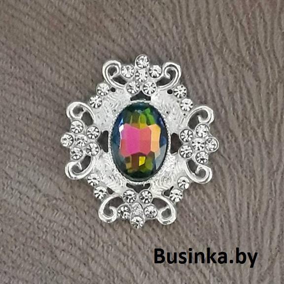 Серединки ювелирные 30*33 мм, серебро/хамелеон (1 шт)
