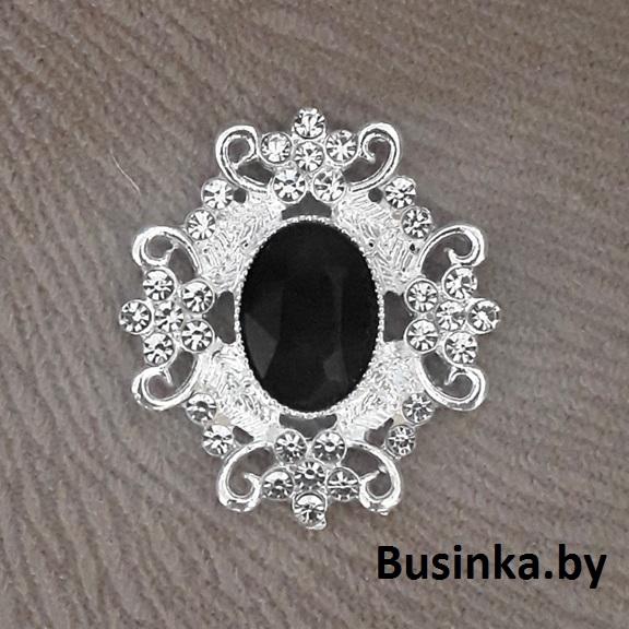 Серединки ювелирные 30*33 мм, серебро/чёрный (1 шт)