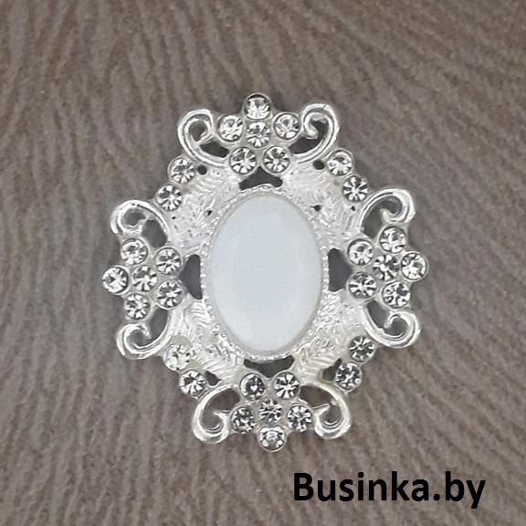 Серединки ювелирные 30*33 мм, серебро/белый (1 шт)