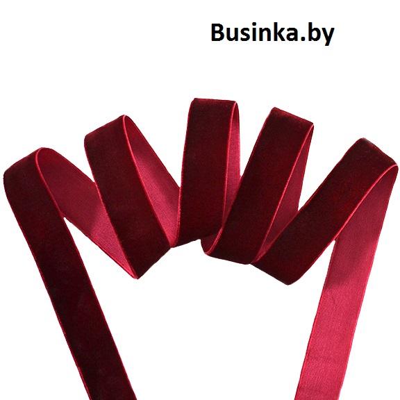 Бархатная лента 2.5 см, бордовый (1 метр)