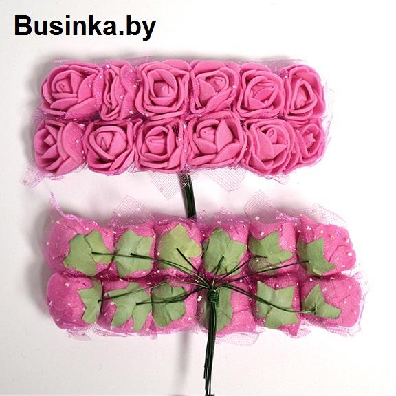 Головки цветов «Розочка» на веточке с сеточкой, фукси 20 мм (12 шт)