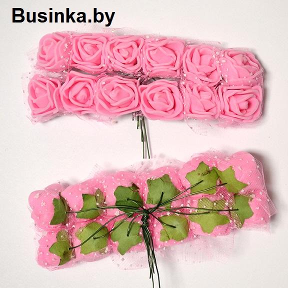 Головки цветов «Розочка» на веточке с сеточкой, розовый 20 мм (12 шт)