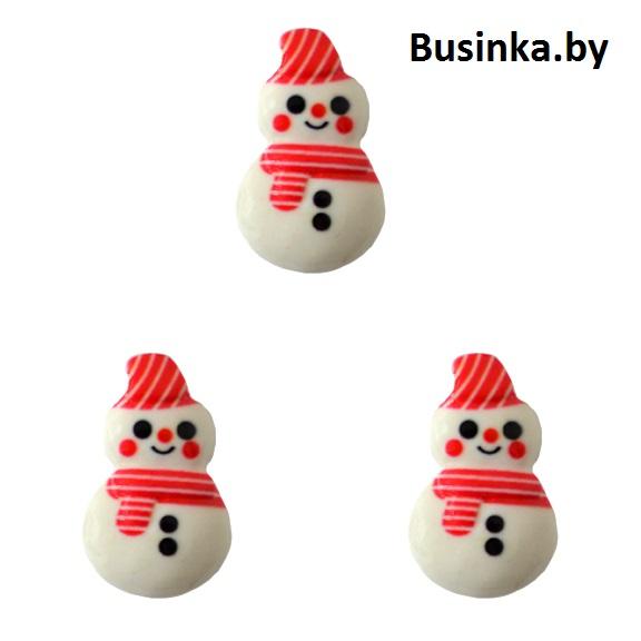 Кабошон «Снеговик», 15*23 мм (1 шт)