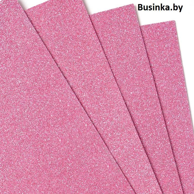 Фоамиран глиттерный 1,7-2 мм Premium 20*29.5 см, розовый (1 шт)