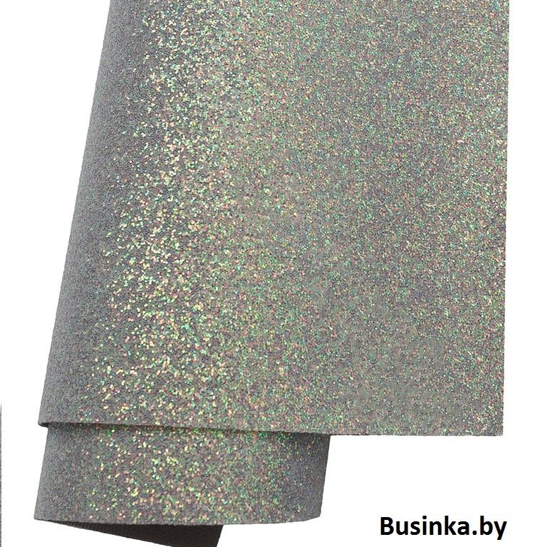 Кожзам с перламутровыми блёстками 21*30 см, серый (1 шт)