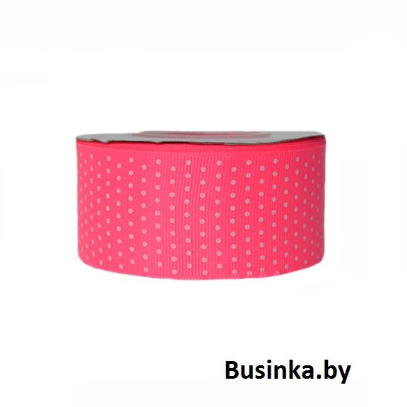 Репсовая лента «Мелкий горох» 4 см, ярко-розовый (1 м)