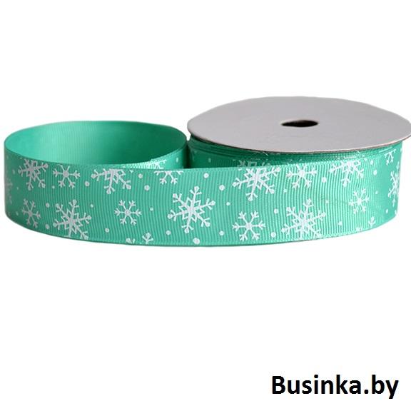 Репсовая лента «Снежинки» 2,5 см (1м), зелёный