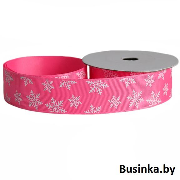 Репсовая лента «Снежинки» 2,5 см (1м), розовый