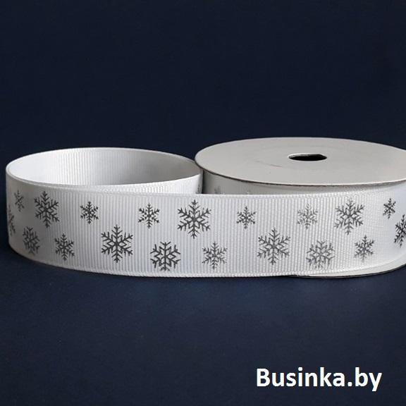 Репсовая лента «Снежинки» 2,5 см (1м), серебро