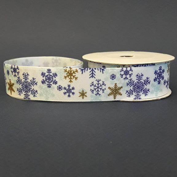 Репсовая лента «Снежинки» 2,5 см (1м)