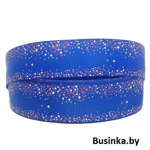 Репсовая лента синяя в сердечки 2,5 см (1м)