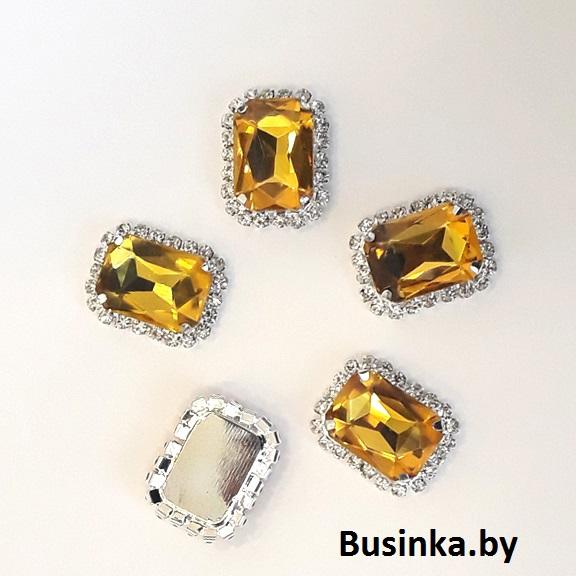 Стразы пришивные «Прямоугольник» со стразами 23*17 мм, золото (1 шт)