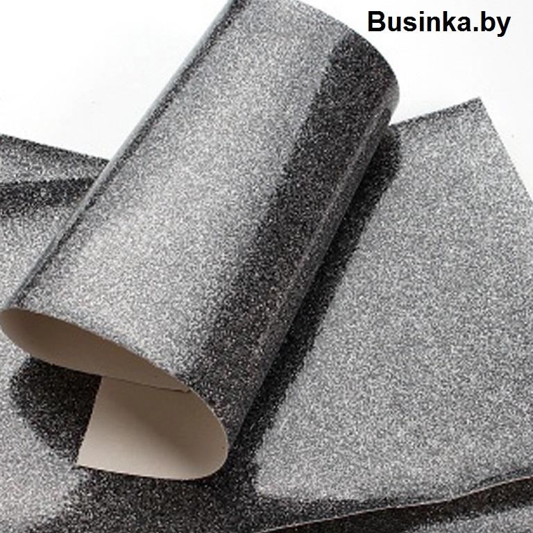 Кожзам с глиттером 20*30 см, чёрное серебро (1 шт), гладкий