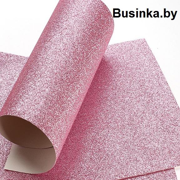 Кожзам с глиттером 20*30 см, светло-розовый (1 шт), гладкий