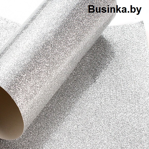 Кожзам с глиттером 20*30 см, серебро (1 шт), гладкий