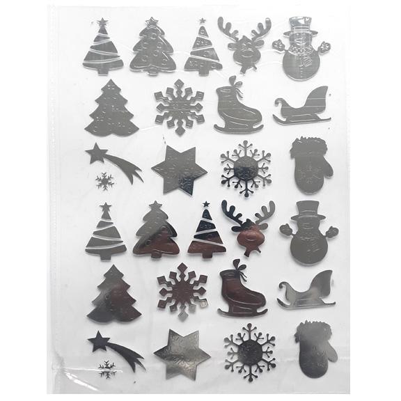 Термонаклейки «Новогодние» серебро (набор)