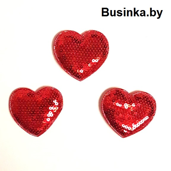 Патч с пайетками «Сердце» 5.5*5 см, красный