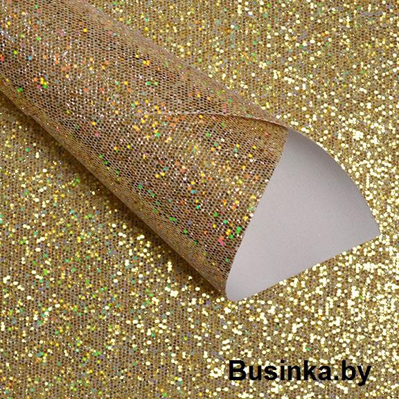 Кожзам соты 20*30 см, золото-голографик (1 шт)