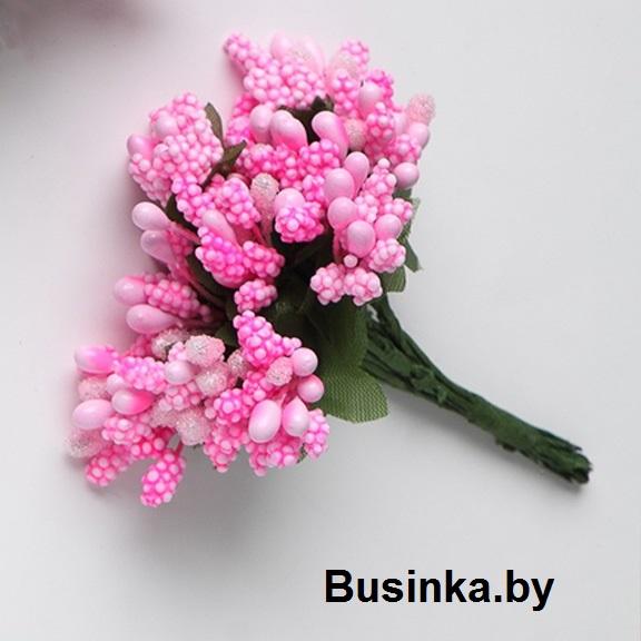 Тычинки с сахарной вставкой, ярко-розовый 1 шт (12 минибукетов)