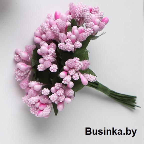 Тычинки с сахарной вставкой, розовый 1 шт (12 минибукетов)